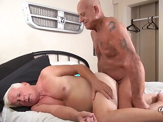 horny, two, grandpas, blonde, brunette, cumshot