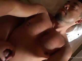 bear, asian, brunette, chubby, cumshot, handjob